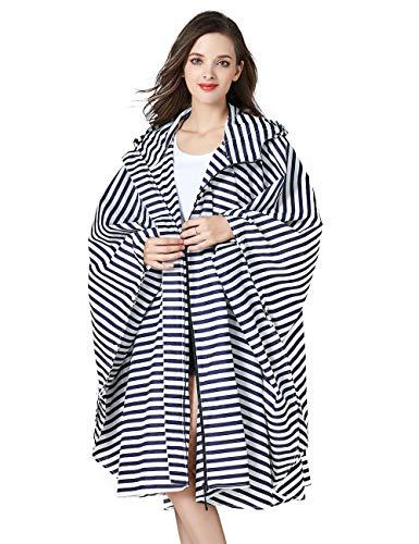 Unisex Rain Ponchos Waterproof for Adults Emergency Rain Coat Jacket Windbreak Rainproof Jacket for Womens Colorful Raincoat Outdoor with Zipper Hooded Bike Rainwear Blue Stripe