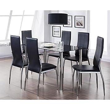 NORIA Ensemble Table A Manger 6 Personnes 130x75 Cm Chaises En Simili
