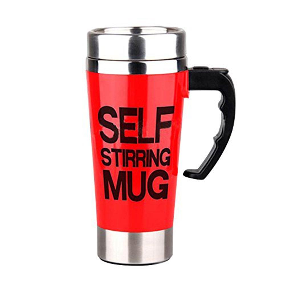MyLifeUNIT Stainless Steel Electric Self Stirring Coffee Mug, 2 X AAA, 500ml (Black)