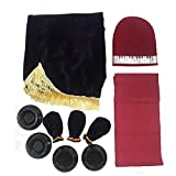 Minimal Life Piano Protective Set of 5 Including Pleuche Piano Cover, Keyboard Cover, Pedal Cover, Caster Cups & Wipe Glove (Modena(Purple))