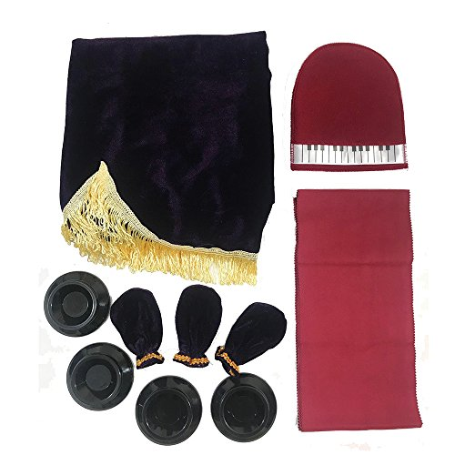 Minimal Life Piano Protective Set of 5 Including Pleuche Piano Cover, Keyboard Cover, Pedal Cover, Caster Cups & Wipe Glove (Modena(Purple)) by Minimal Life