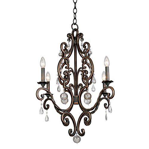 "Chandeliers 4 Light Fixtures with Vintage Iron Finish Hand Forged Wrought Iron/Crystal Material E12 79"" 160 Watts"