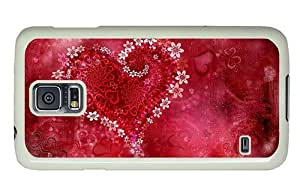 Hipster carry Samsung Galaxy S5 Case heart flowers hd PC White for Samsung S5 by lolosakes