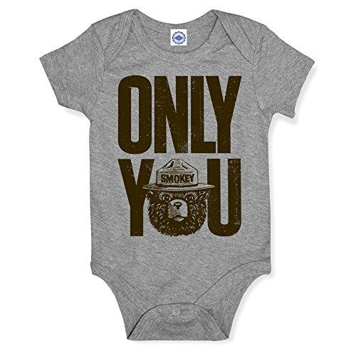 Hank Player U.S.A. Smokey Bear Only You Baby Onesie (18M, Heather Grey) -
