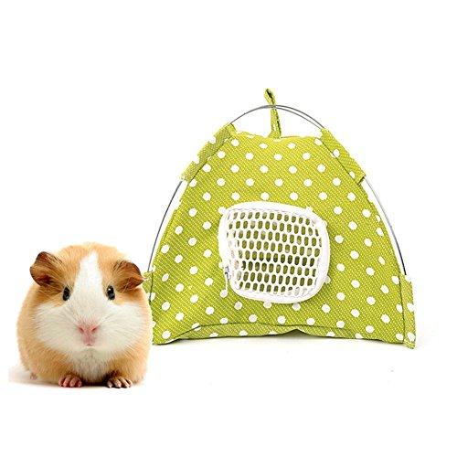 Lazynice Folding Small Pet Outdoor Tents, Washable Camping Tent Tentage House Bed for Dwarf Hamster Pet Rat Hedgehog Golden Squirrel,Gold Horn Bear (2020cm, green white) ()