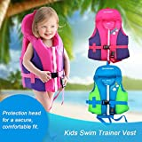 OldPAPA Swim Trainer Vest with Head Supportive Buoyancy Collar, Adjustable Safety Strap, Kids Life Jacket,Small, Up to 36 lbs