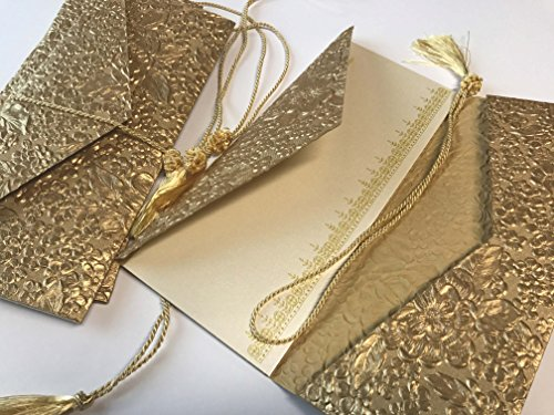 Money Folders (Premium) for Cash Gift, Wedding Gifts, Travel ticket Gifts, made from Gold Embossed Paper, Monetary Envelopes, Currency Envelopes - Set of 4 ()