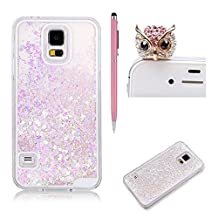 SKYXD For Samsung Galaxy S5 Liquid Case,Luxury Floating Flowing 3D Novelty Design Bling Shiny Sparkle Pink and Purple Heart Glitter Plastic Pattern Hard Back Cover Protective Skin Cell Phone Cases For Samsung Galaxy S5 + 1 x Touch Screen Stylus + 1 x Dust Plug