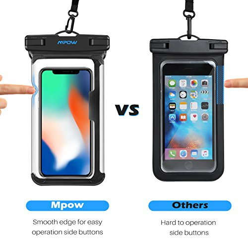 Mpow Waterproof Phone Pouch, Full Transparency IPX8 Waterproof Case with Adjustable Lanyard Universal Dry Bag Compatible for iPhone X/8/8P/7/7P, Galaxy S9/S9P/S8P/Note 8, Google/HTC up to 6.0'' 2-Pack by Mpow (Image #4)