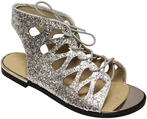 486cf4c3b9d Forever Rosie-32 Women s Metal Trim Toe Glitter Geometric Lace up Slingback  Flat Sandals Silver