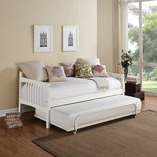 Avenue Greene Kayden White Twin Daybed Trundle Bed Style made of wood