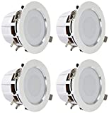 Pyle 3.5'' Bluetooth Ceiling Speakers / Wall Speaker Kit, (4) Aluminum Frame 2-Way Speakers with Built-in LED Lights (PDIC4CBTL35B)