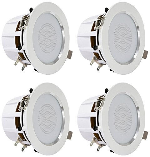 Pyle 3.5 Bluetooth Ceiling Speakers / Wall Speaker Kit, (4) Aluminum Frame 2-Way Speakers with Built-in LED Lights (PDIC4CBTL35B)