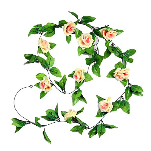 Pauwer 6PCS(48 FT) Fake Rose Vine Garland Artificial Flowers Plants Hanging Vines with Flowers for Hotel Wedding Home Party Garden Craft Art Decor (Champagne)