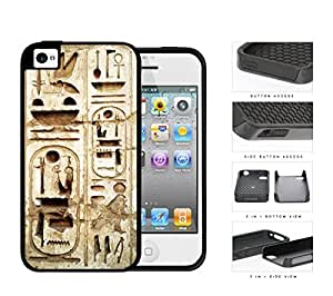 Egyptian Ancient Wall Hieroglyphics 2-Piece Dual Layer High Impact Rubber Silicone Cell Phone Case Apple iPhone 4 4s