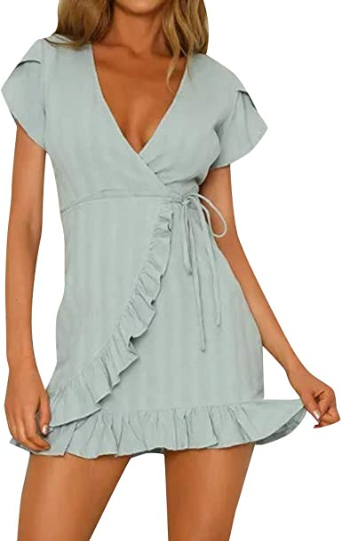 Dresses for Women Off Shoulder Mini Dress Ruffled Sleeve Plus Size Casual Cocktail Party Sundress