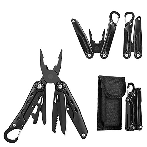 Saw Package - GETUHAND Multi Plier Stainless Steel 10-in-1 Multi Pocket Tool for Hunting, Hiking, Camping, Outdoor Survival with Multitool Knife Sheath Folding Pliers/Knife/Saw, Wire Cutter(Black)