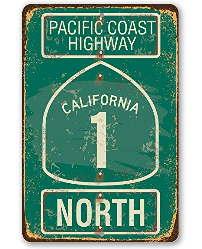 "Metal Sign - Pacific Coast Highway Metal Sign - Durable Metal Sign - 8"" x 12"" Use Indoor/Outdoor - Makes a Great Gift to People from Northern California"