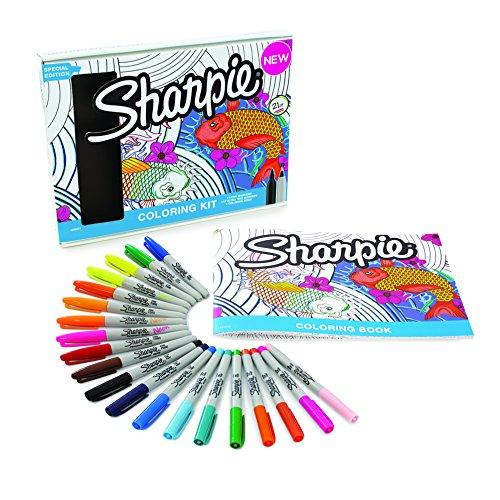 Sharpie Permanent Markers, 10 Fine & 10 Ultra-Fine Tip, Assorted Colors with Aquatic-Themed Adult Coloring Book (Newell Colored Markers)