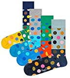 Happy Socks Men's Combed Cotton Socks, Pack of 4 (Big Dot Block, 10-13)