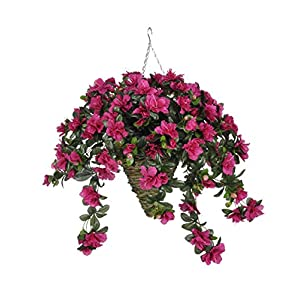 House of Silk Flowers Artificial Fuchsia Azalea in Beehive Hanging Basket 25