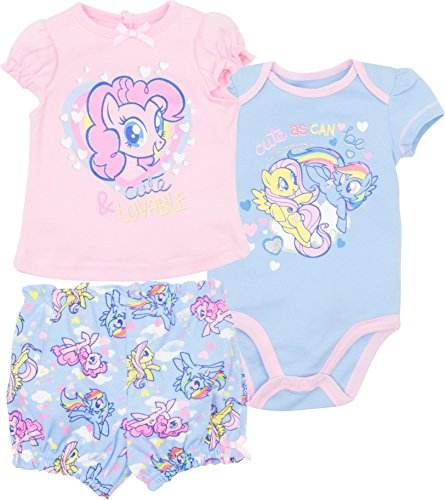 My Little Pony Infant Baby Girls' 3pc T-Shirt Shorts & Bodysuit Set, Pink & Blue (0-3 Months) - Infant Girls Pony