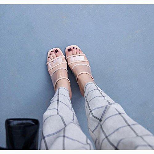 Tacco Dimensioni Pantofole Aperta 7cm Albicocca Spesso Sandali Testa e Sandali store Colore Quadrata Punta 35 Shoe wnxq0a1p1