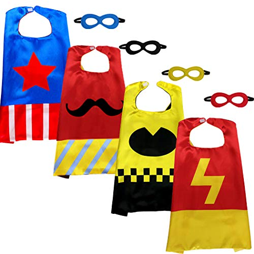 Kids Superhero Capes and Masks 4 Pack Kids Capes Dress Up Costume for Birthday Party Halloween Costumes