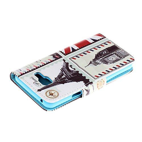 Caja de Teléfono para Samsung Galaxy A3(2016) A310 Funda LuckyW Casa Flip Folio Funda Bookstyle Funda Flexible Ligera Duradera con Función de Soporte Ranuras de Tarjeta Soporte de Identificación Cierr París
