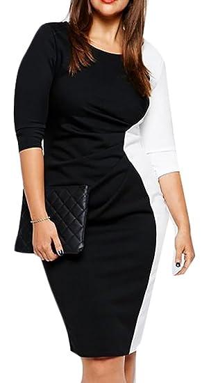 Hokny TD Women Plus Size Long Sleeve V Neck Color Block Bodycon ...