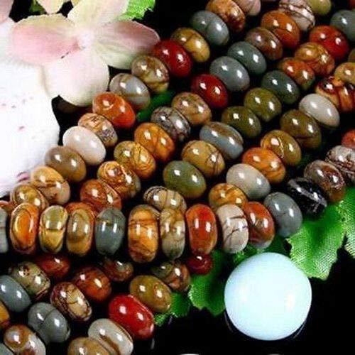 FidgetFidget 5x8mm Natural Colorful Picasso Jasper Gemstone Abacus Loose Beads 15