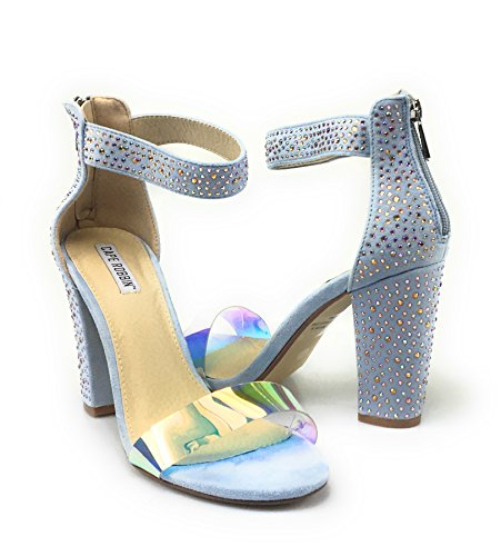 Bamboo Rampage 04 Womens Single Band Chunky Heel Sandal With Ankle Strap (7.5, Baby-Blue)