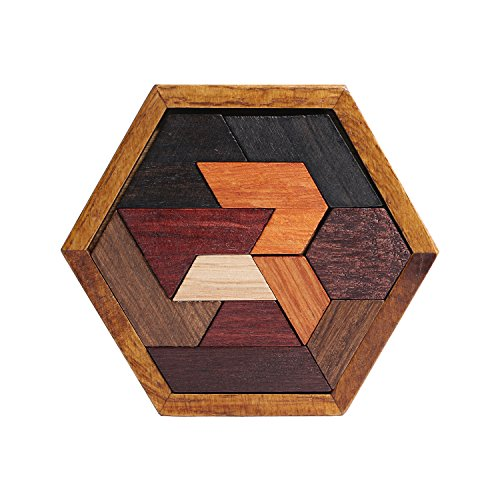Wooden Hexagon Tangram PuzzlesWooden Puzzle GamesClassic Handmade Brain Teaser Logic Puzzle Educational Toy Gifts for Kids and Adults