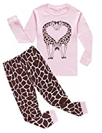 Pajamas For Girls Deer Love Long Sleeve Pjs 100% Cotton Kids Clothes Size 12M-11Yrs