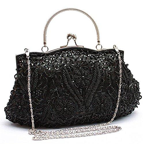 Evening Women Vintage Bags Beaded Silver Bride For White Handbags Party Messenger Wedding Black 6p1dpqw