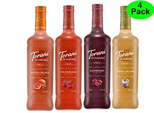 Torani Signature Variety 4 Pack, Signature Strawberry, Signature Raspberry, Signature Irish Cream, Signature Blood Orange ()