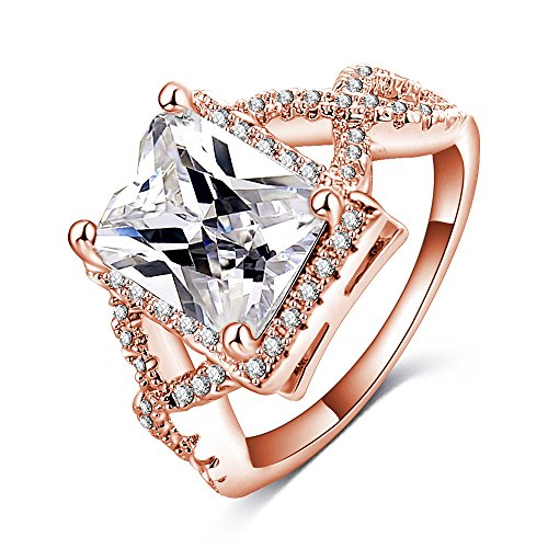 Deals and Sales - LuckyWeng New Exquisite Fashion Jewelry Hot Sale Rose Gold Cross Exquisite Diamond Zircon Ring