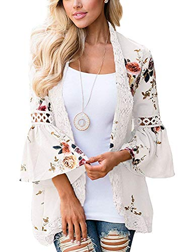 (RJXDLT Womens Floral Print Kimono Cardigan Loose Puff Sleeve Cardigans Lace Patchwork Cover Up Blouse Top White S)