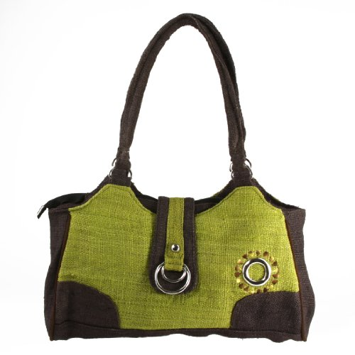 Earth-Divas-MH-135-GNB-Green-Brown-Hemp-Double-Ring-Stylish-Handbag