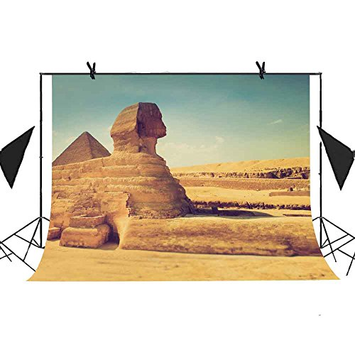 MEETS 7x5ft World Famous Architecture Backdrop Egyptian Sphinx Background Photo Booth Studio Props Theme Party YouTube Backdrop MT415 ()
