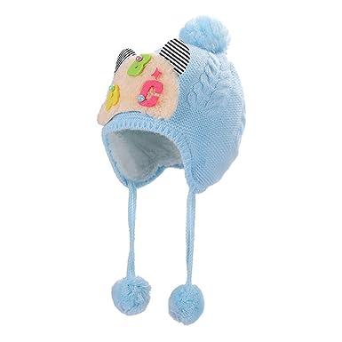Rameng- Bonnet Hiver Bebe Fille Cagoule Bebe Chapeau Bébé Fille Garçon  Cadeau pour Enfants (Bleu Clair)  Amazon.fr  Vêtements et accessoires 62209de251a