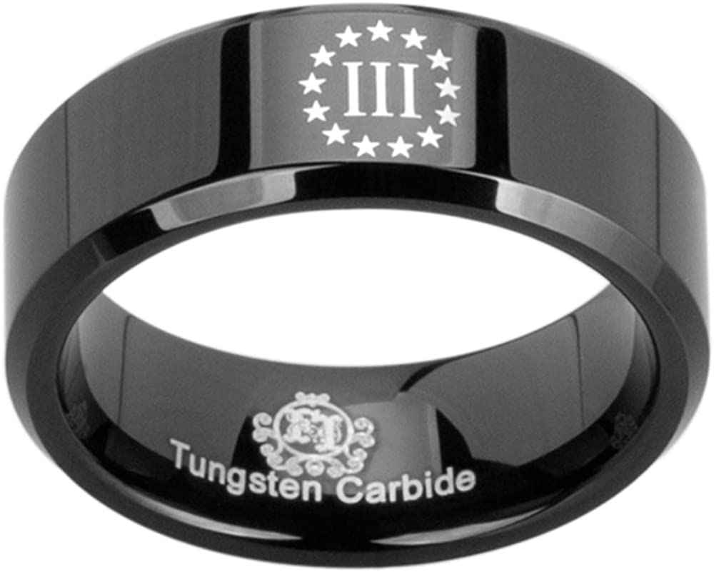Friends of Irony Black Tungsten Carbide Three Percenter Ring 8mm Wedding Band and Anniversary Ring for Men and Women Size 12