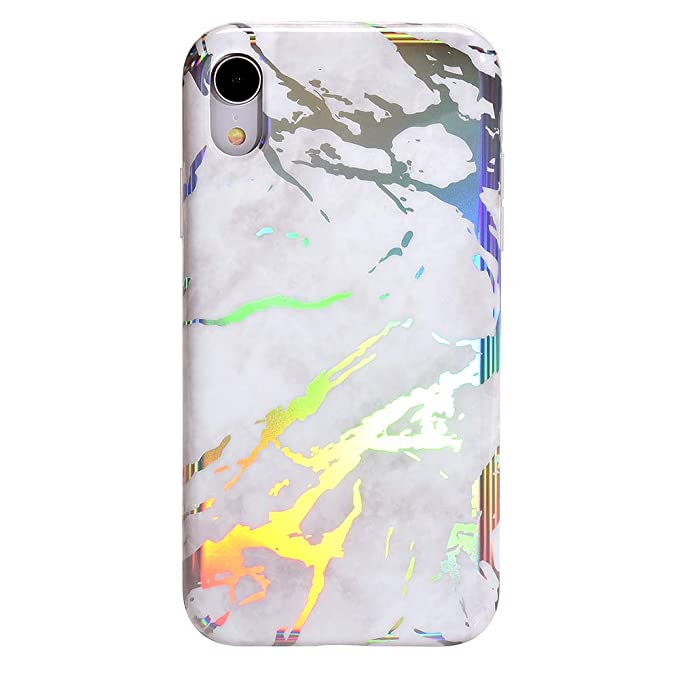 info for 13356 db005 Holographic White Marble iPhone XR Case - Premium Protective Cover - Cute  Phone Cases for Girls & Women [Drop Test Certified]