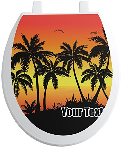 RNK Shops Tropical Sunset Toilet Seat Decal - Round (Personalized) by RNK Shops
