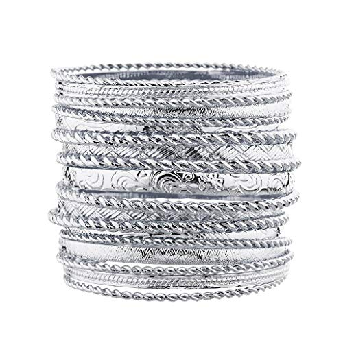 Lux Accessories Flower Mixed Metal Aztec Multi Bangle Set Shiny Silver