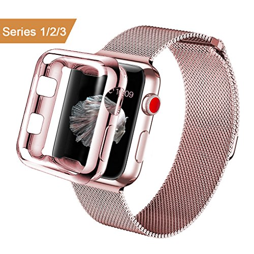 atch Band 38mm Stainless Steel Metal Replacement Wristband Milanese Sport Strap and Apple Watch Screen Protector for Apple Watch Series 3 2 1, Rose Gold ()