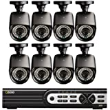 Q-See QT5716-8E3-1 16 Channel 960H DVR with 8 High-Resolution 700TVL/960H Cameras and Pre-Installed 1 TB Hard Drive (Black)