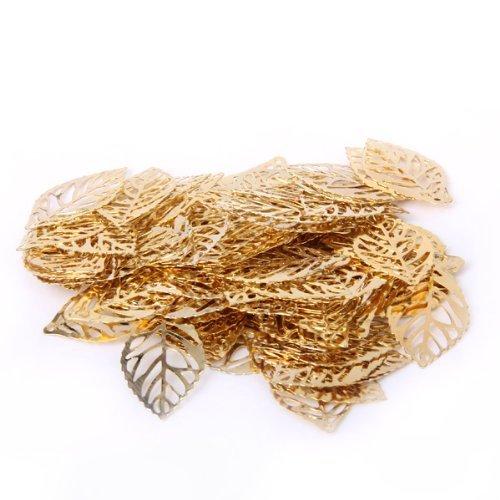 (100pcs DIY Tree Leaf Crafts Alloy Pierced Tree Leaf for DIY Crafts Ornament Punk)