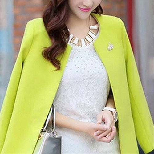 Amazon.com: Dapengzhu Fashion Round Neck Long Sleeve Women Coats S-XXL Solid Color Casaco Feminino Loose Cardigan New Autumn Slim Thin Outerwear Yellow XXL: ...