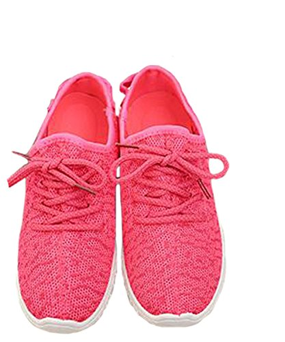 VECJUNIA Ladies Casual Lace-Up Trainers Sneakers Shoes Running Shoes Red ZKAyfJPku